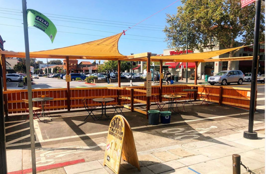 An outdoor dining area outside Rose's Taproom, one of many businesses participating in Picnic on Telegraph. Credit: Temescal-Telegraph BID
