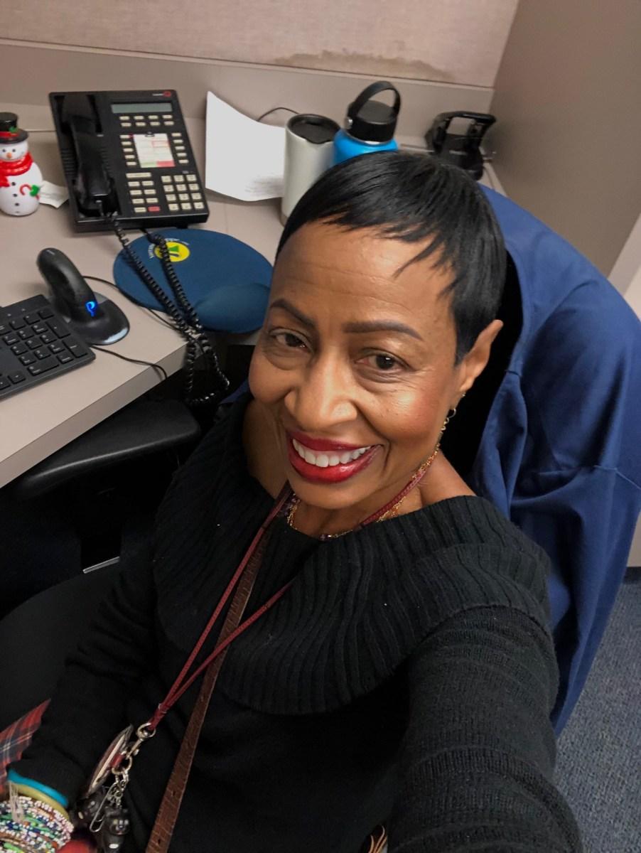 A selfie by Allison Austin, triage nurse at Fairmont Hospital in San Leandro